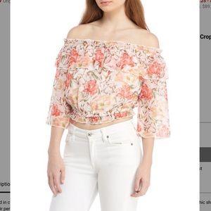 NWT WAYF Cosenza Off-The-Shoulder Floral Crop Top